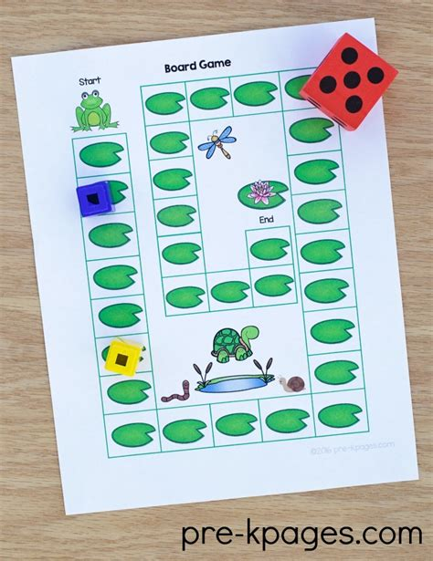 printable board games for preschoolers pond theme activities pre k pages