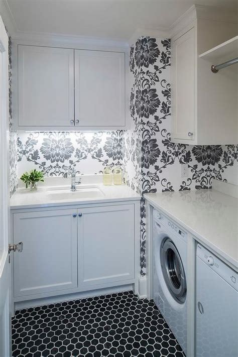 White And Black Laundry Room With Hex Tiles Transitional Black And White Laundry