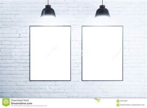 poster mock up on the brick wall stock vector image white brick wall with blank white posters stock