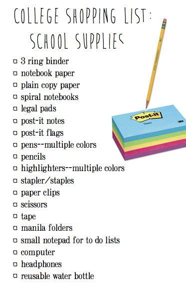 office supplies needed cardigans and chai college shopping list school supplies