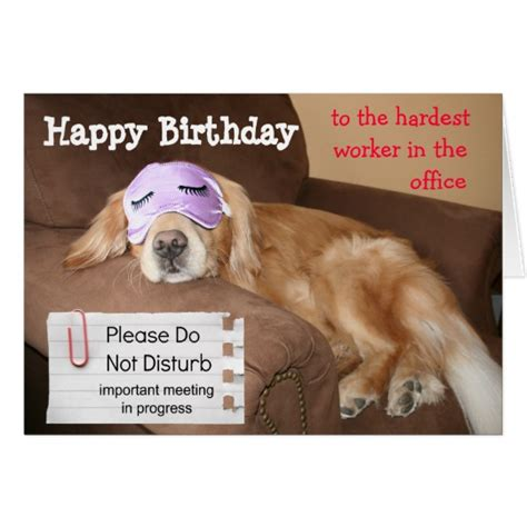 Happy Birthday Co Worker Card Funny Golden Retriever Coworker Office Birthday Card