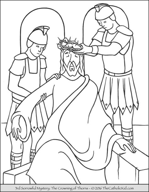 coloring pages jesus crown of thorns sorrowful mysteries rosary coloring pages the crowning