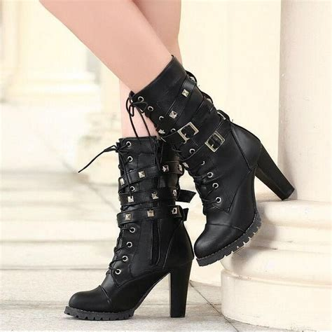 womens biker boots with heels womens studded high heel mid calf rivet buckle lace up