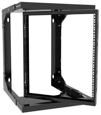 20u Open Wall Mount Frame Rack by Hwmr1920ubk Hammond Mfg 20u Wall Mount Pivoting Open Frame