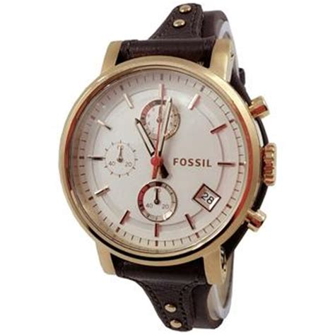Jam Tangan Fossil Leather Hitam List Abu Harga Fossil Es3616 C Jam Tangan Wanita Leather Gold