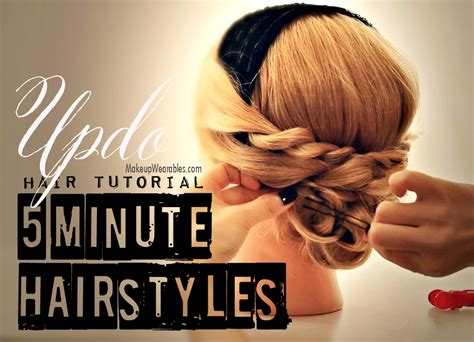 5 Minute Hairstyles by Minute Hairstyles Easy Updos Hair Tutorial For Medium