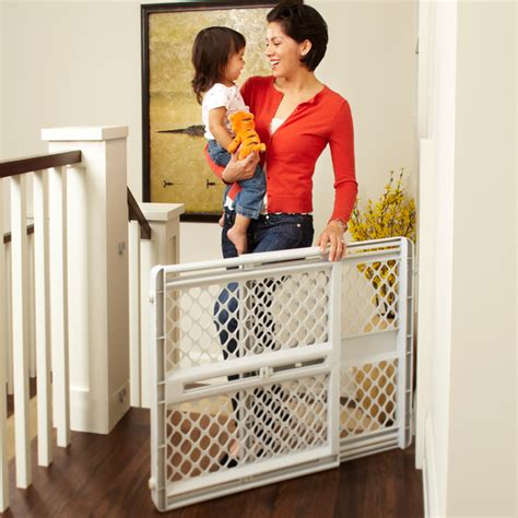 supergate stairway swing gate light gray supergate 174 classic baby gates north states