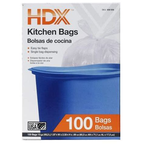 hdx 13 gal kitchen flap tie white trash bags 100 count