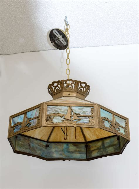American Arts And Crafts Chandelier Slag Glass Nautical Slag Glass Chandelier