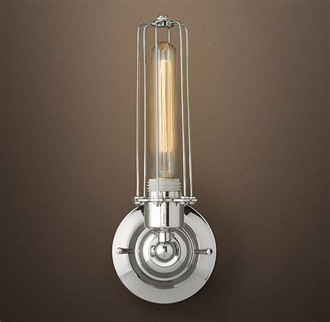 bathroom sconce lighting ideas edison caged sconce polished nickel bathroom r