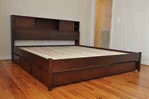 Platform Bed With Storage Underneath Plans Furniture Brown Wooden Size Bed With Storage Board
