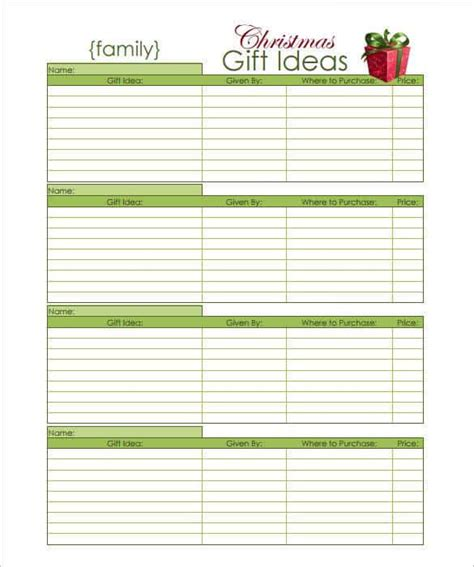 printable card list template 24 gift list templates free printable word