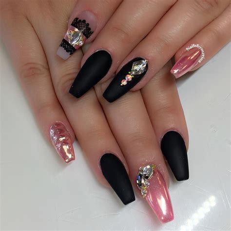 Nail De by Matte Black Pink Chrome Nail Nail