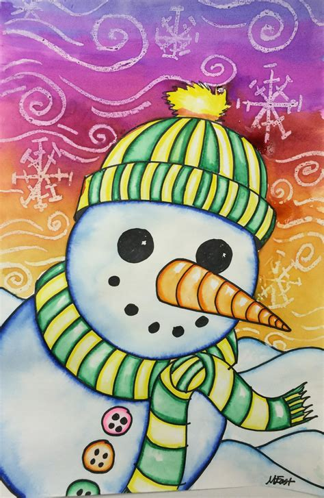 chridtmas craft 5th grade snowman painting with markers watercolor resist