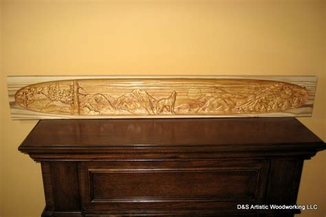 hand  carved fireplace mantel insert  wolf  ds