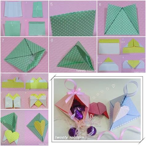 how to make triangle heart lock gift box step by step diy