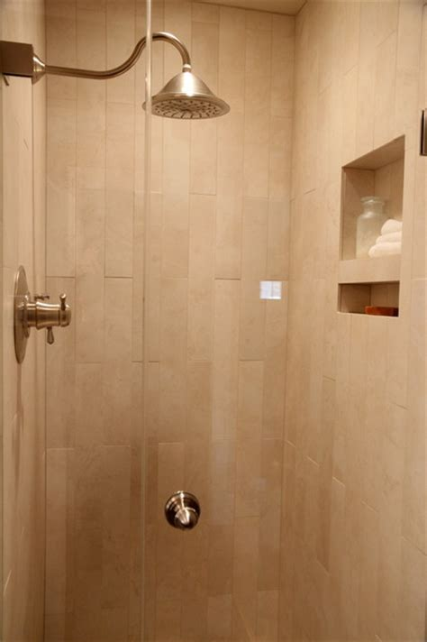 rain shower bathroom shower stall with rain shower head and niche for storing