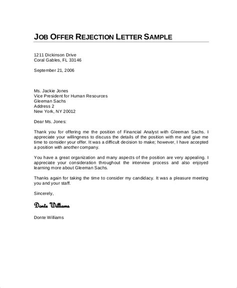 business letters rejection 9 rejection letters free sle exle format