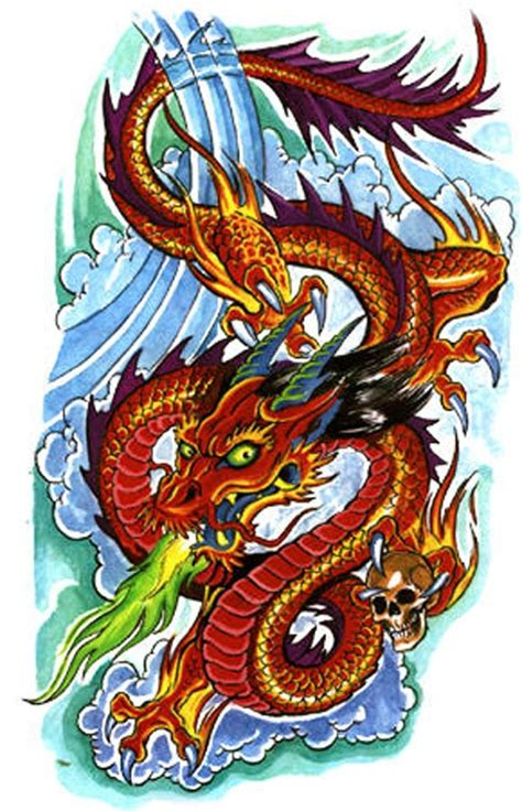 dragon tattoos dragon spitting green fire dragon