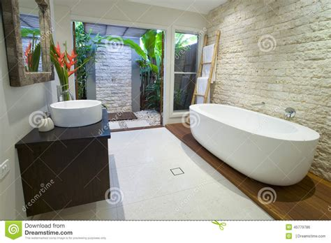 modern asian bathroom with timber deck stock photo image 45779786