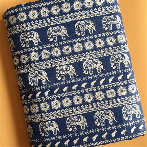 upholstery fabric crafts by meter ethnic elephant print linen material bags crafts