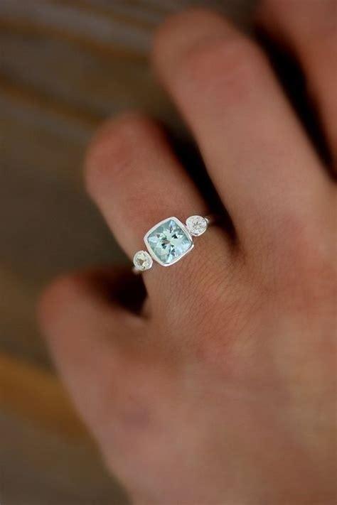 wedding rings aquamarine and white sapphire