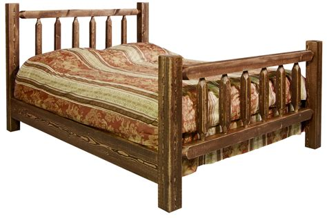 queen log bed homestead queen log bed stained lacquered