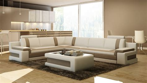 divani casa 5083 modern leather sectional sofa w coffee table