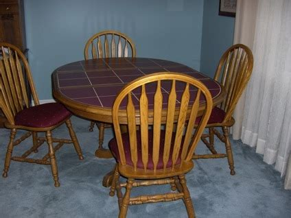 Ceramic Kitchen Table 125 Oak Kitchen Table W Ceramic Inlay Top And 4 Chairs Quot Sold Quot For Sale In Scottsboro Alabama