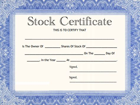 corporate stock certificate template blank stock certificate template selimtd