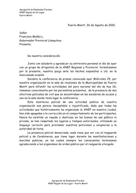 carta al gobernador provincia de llanquihue 26 08 10