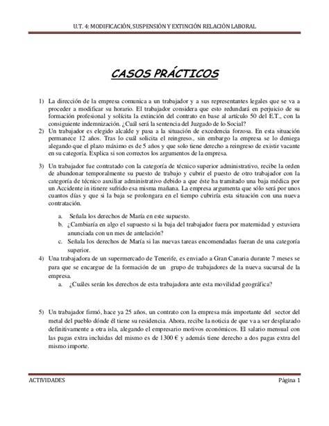 resolucion casos practicos trabajo social casos practicos modificaci 243 n suspensi 243 n y extinci 243 n del