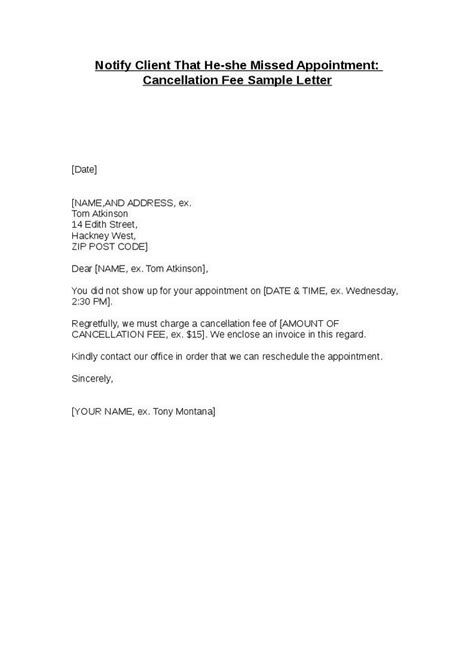 change of appointment letter template notify client that he she missed appointment cancellation
