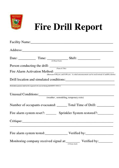 28 sle fire drill report fire or drill report