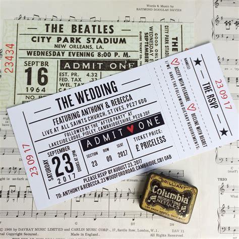 wedding invitations gig tickets concert ticket inspired wedding invitations me do designs