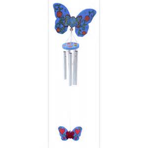 butterfly wind chime fun with wood and wood bases from