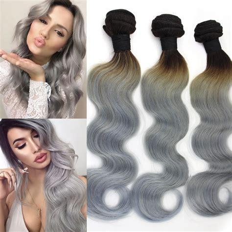 body wave on gray hair two tone 1b grey brazilian body wave virgin hair 3 pcs lot