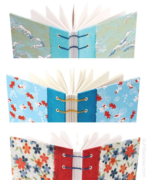 Handmade Japanese Paper - gorgeous chiyogami paper journals waves goldfish and