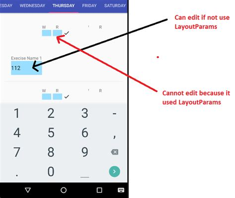 linearlayoutmanager wrap content android layoutparams of edittext inside listview does