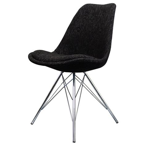 dining chair chrome legs buy eiffel inspired black fabric dining chair with chrome