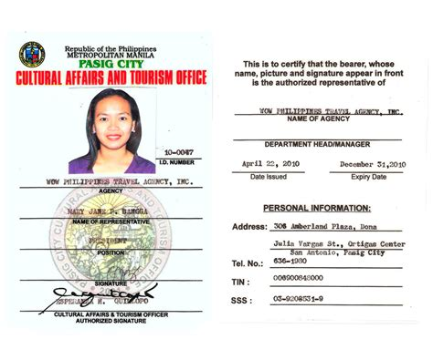 company id card template philippines licensed accredited wow philippines travel agency