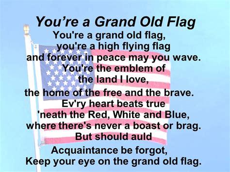 printable lyrics to you re a grand old flag lyric home of the brave lyrics home of home of the