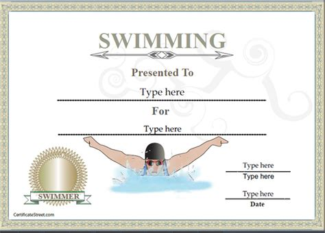 swimming award certificate template sports certificates certificate of achievement in