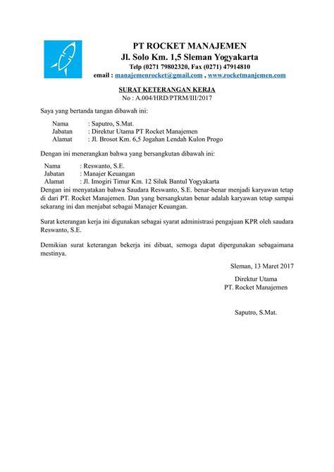 contoh surat keterangan kerja untuk kpr format doc