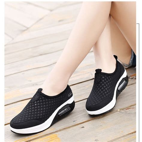 Shoes Kode 218 12 Size 35 40 s mesh shoes wedge platform sneakers running sport casual pull on trainer ebay