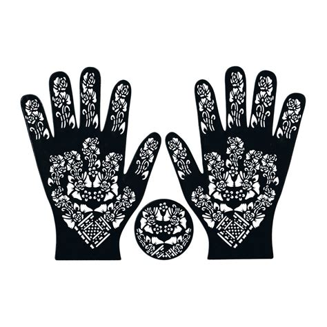henna schablone tattoo hennaschablone hand 3teilig 42