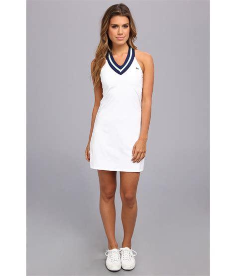 Gamis V Neck Cewekwanita 4 lyst lacoste sleeveless technical vneck tennis dress in blue