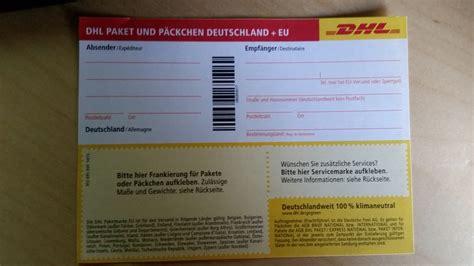 Paketschein Post Online Drucken by Kann Ich Auf Einen Normalen Dhl Paketaufkleber Eine