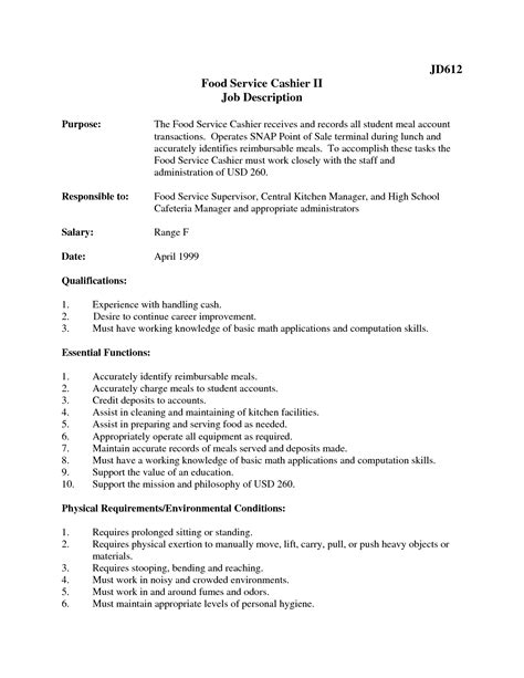 Resume Exles Food Cashier 2016 Description For Cashier Recentresumes