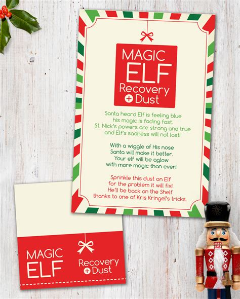 printable magic elf story magic elf recovery dust digital printable